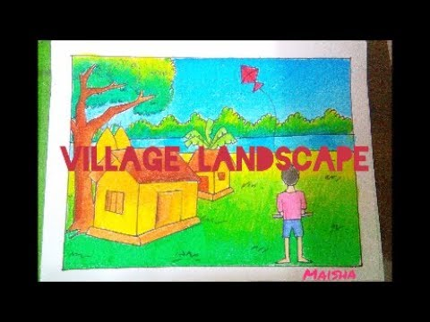 Simple Village Landscape For kids! || Decorative Drawings