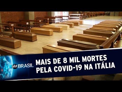 Itália já contabiliza mais de 8 mil mortes pela Covid-19   SBT Brasil (26/03/20)