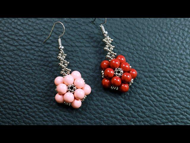 Elegant earrings || Super easy to make beaded earrings