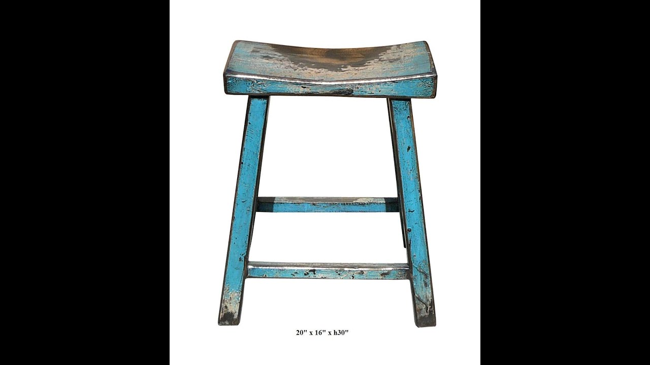 Rustic Turquoise Solid Wood Bar Stool F908 Youtube