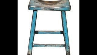 Rustic Turquoise Solid Wood Bar Stool F908