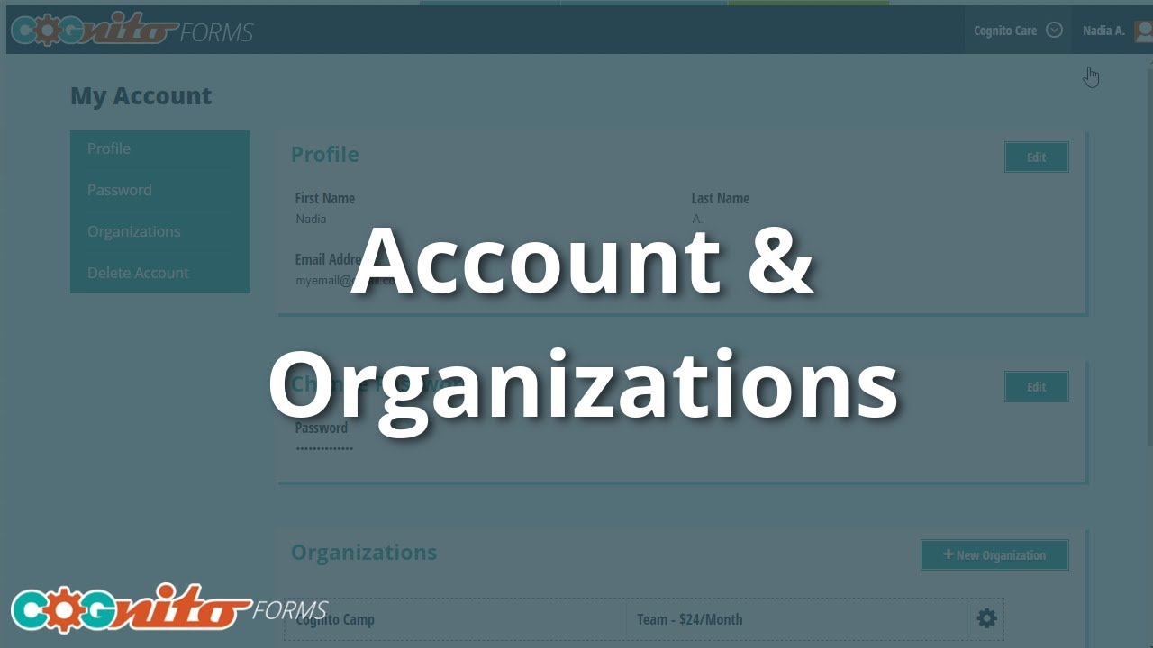 Managing Your Account & Organizations - Cognito Forms