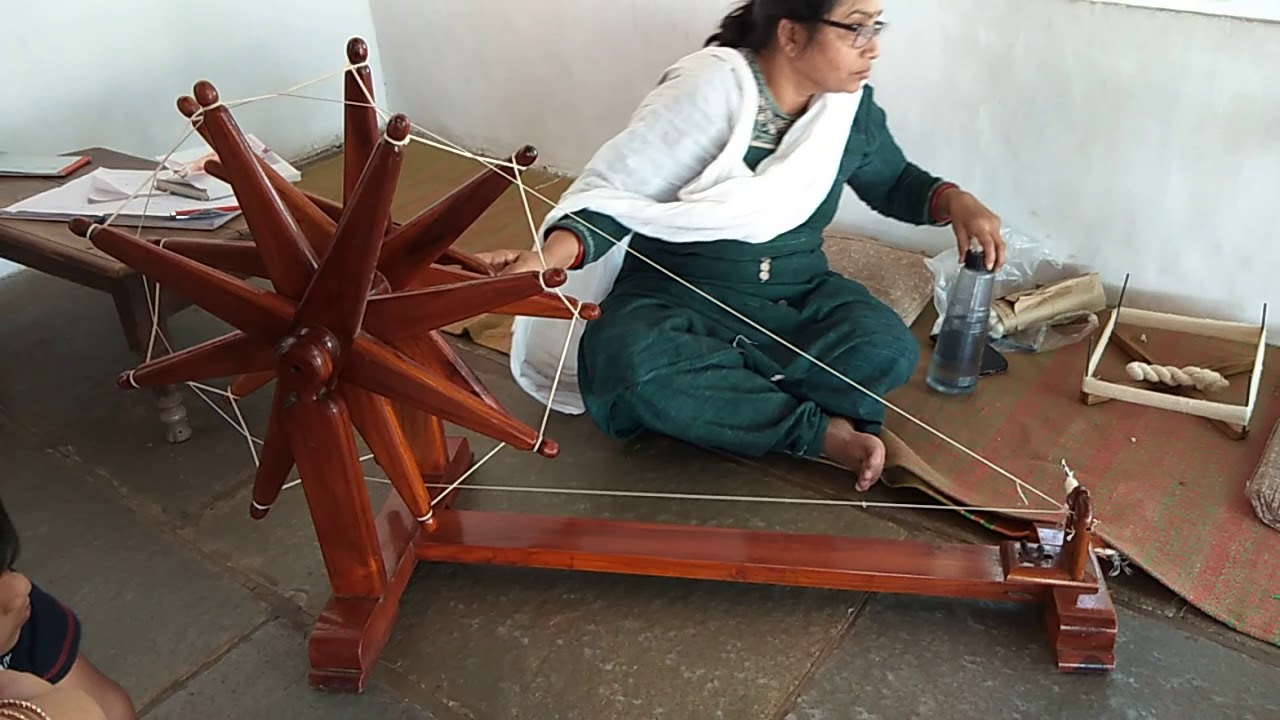 Spinning Cotton by Hand on a Spinning Wheel (Charkha) | Spinning Cotton  into Thread