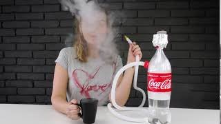 Pretty Girl Shows How to Make Hookah out of Coca Cola Bottle mp4