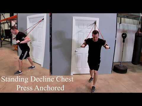 Standing Decline Chest Press Using Resistance Bands