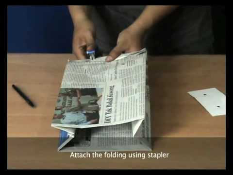Renews How To Make Newspaper Bag Staple Version Youtube