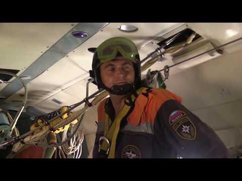 Десантирование спасателей и поисковой собаки, эвакуация пострадавшего вертолётом МЧС прошли успешно