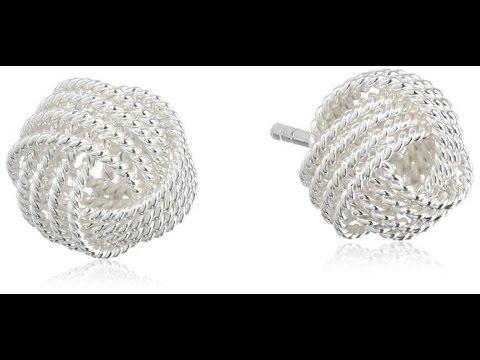 Sterling Silver Twisted Love Knot Stud Earrings