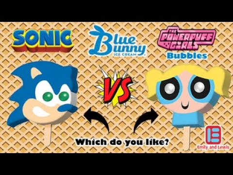 Sonic The Hedgehog | Power Puff Girls Bubbles | Ice Cream Bar | Bubble Gum Eyes