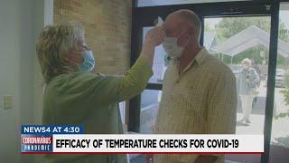 Efficacy of temperature checks for COVID-19