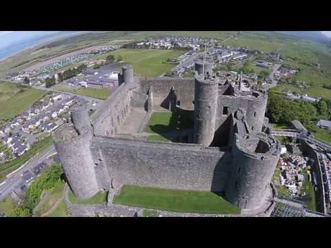 North Wales.  Crib Goch  Snowdonia  Harlech Castle Drone