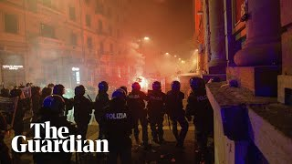 Teargas deployed at anti-lockdown protest in Naples on day of new curfew