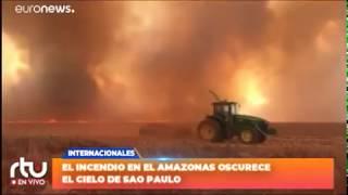 El incendio en el Amazonas oscurece el cielo de Sao Paulo