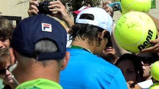 Rafa signs LOTS of autographs at Indian Wells, 2012