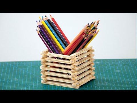 Ice Cream Stick Craft - Pencil Stand with Icecream Sticks