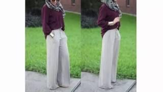 Palazzo Pants Hijab Style for Summer سروال بالازو العريض للمحجات لصيف 2016