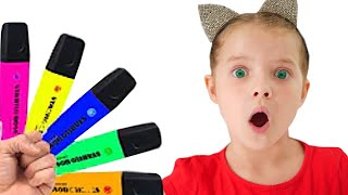 Nicole pretends to play with his Magic Pen - Preschool toddler learn color