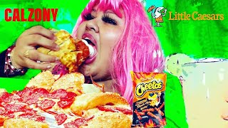 XXTRA Hot Cheetos~Little Caesar's CALZONY Mukbang I MESSED UP BIG TIME TODAY STORY TIME