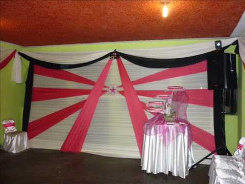 Decoraciones para fiestas de 15 a os y matrimonios youtube for Decoracion con telas