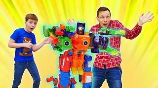Классное видео про игры для мальчиков. - Трансботы против инопланетян! - Новые роботы трансформеры.