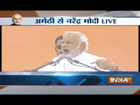 Watch Modi's fiery attack on Rahul, Sonia in Amethi Live on India TV