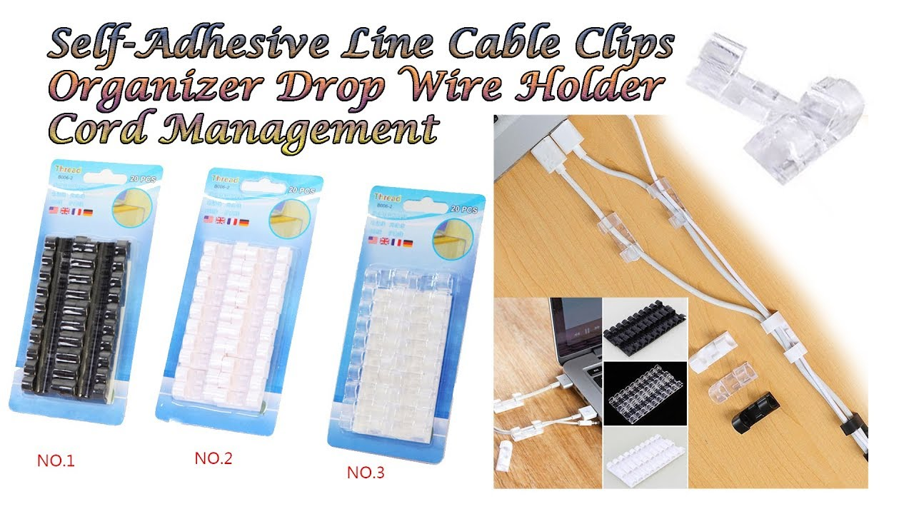 20pcs Self-Adhesive Cable Clips Cord Holder Wire Line Management Organiser