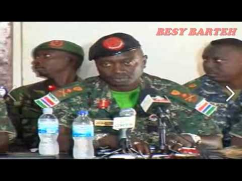 THE GAMBIA ARM FORCES CDS BADGIE GIVING A STATEMENT BEFORE PRESS