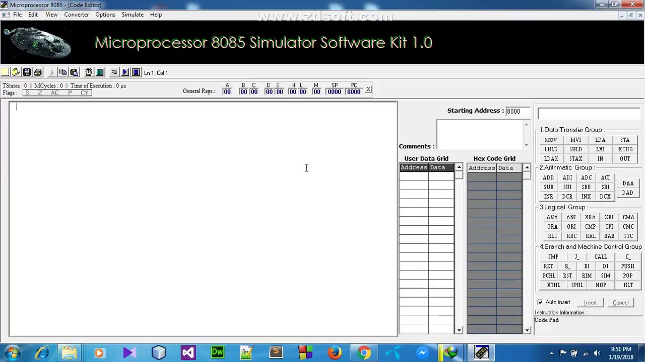 Microprocessor 8085 simulator software kit | software | training.