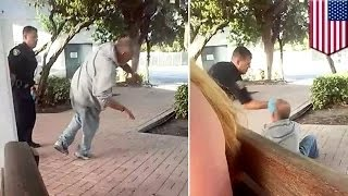 فيديو لشرطي يشبح على رجل مسن ومشرد في محطة باص فورت لودرديل