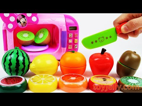 Microwave Just Like Home Minnie Mouse Learn Colors Cutting Fruits, Vegetables Slime Playset for Kids