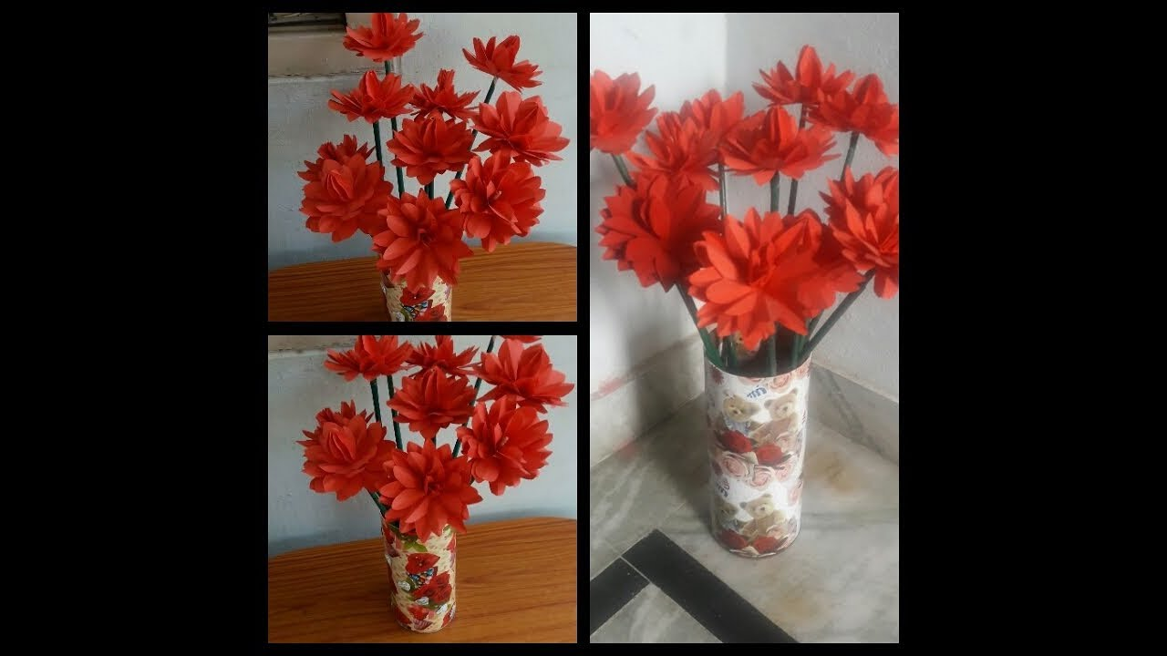 How to make flowers with color papers| |flower vase| |Beautiful Red ...