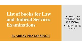 Books for law and judicial services exam