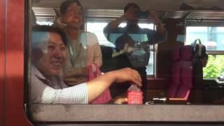 9218M 485系A1A2編成 特急あいづ&SLばんえつ物語 会津若松駅同時発車 2016/6/18