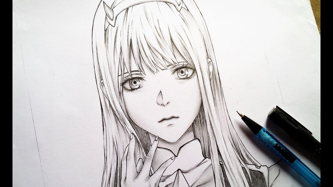 How to draw realistic anime girl zero two step by step - Sketch anime wallpaper ...
