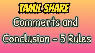 BEST 5 Rules | Comments and Conclusion | Stock Market | Tamil Share Muthukumar