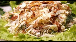 Вкусный салат с блинчиками и ветчиной