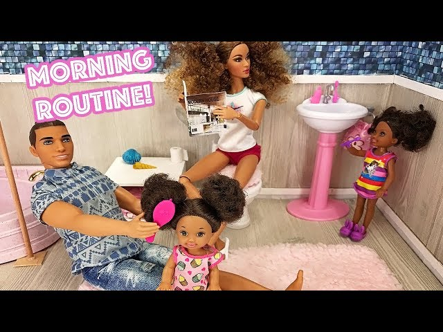Barbie Sisters Morning Routine! Kitchen Bedroom and Pink Washroom    Naiah and Elli Doll Show #2