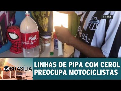 Linhas de pipa com cerol preocupa motociclistas | SBT Brasília 24/08/2018
