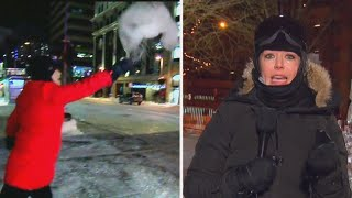 TV Meteorologists Perform Cold Weather Tricks