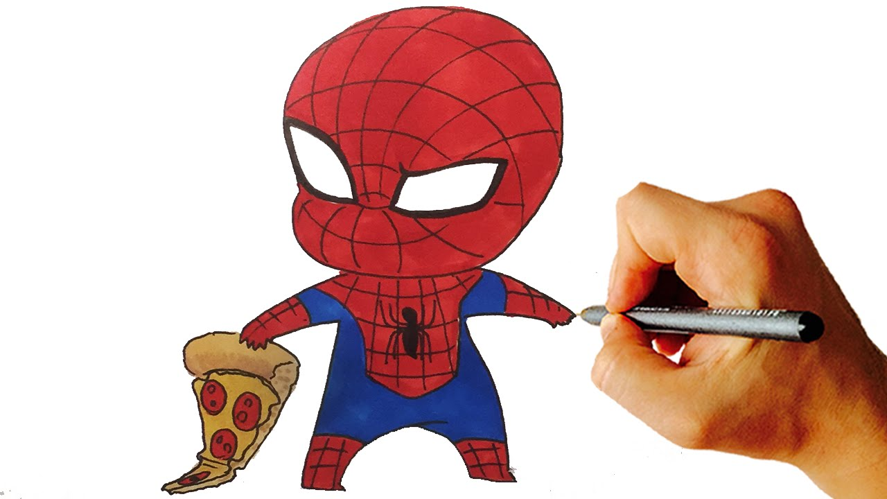 How To Draw Spiderman Chibi From Marvel Characters Easy Step By Step