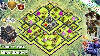 New Town Hall 9 Trophy/Farming Base 2018! Th9 Hybrid Farm Base with CC in Center!! - Clash of Clans
