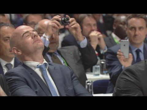 Watch the moment Gianni Infantino finds out he's the new FIFA president