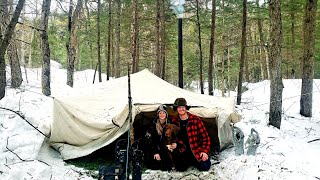 Winter Camping in a Canvas Wall Tent