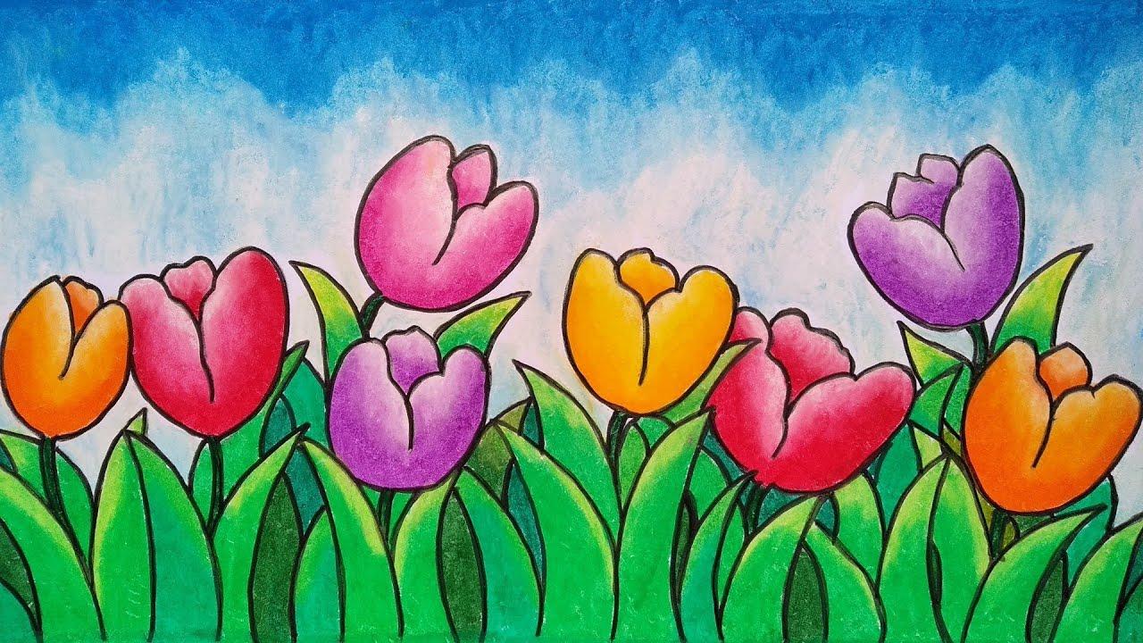 Cara Menggambar Taman Bunga Warna Warni Menggambar Dan Mewarnai Taman Bunga Tulip Youtube