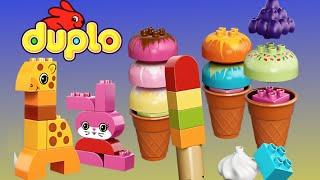 Lego Duplo Ice Crean with Lego Duplo Animals Dog Cat Snail Giraffe bird toys