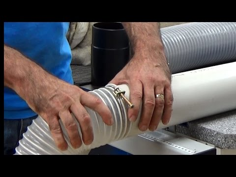 Dave Stanton woodworking. How to connect 4 inch PVC (sewer pipe) to 4 inch dust extraction pipe