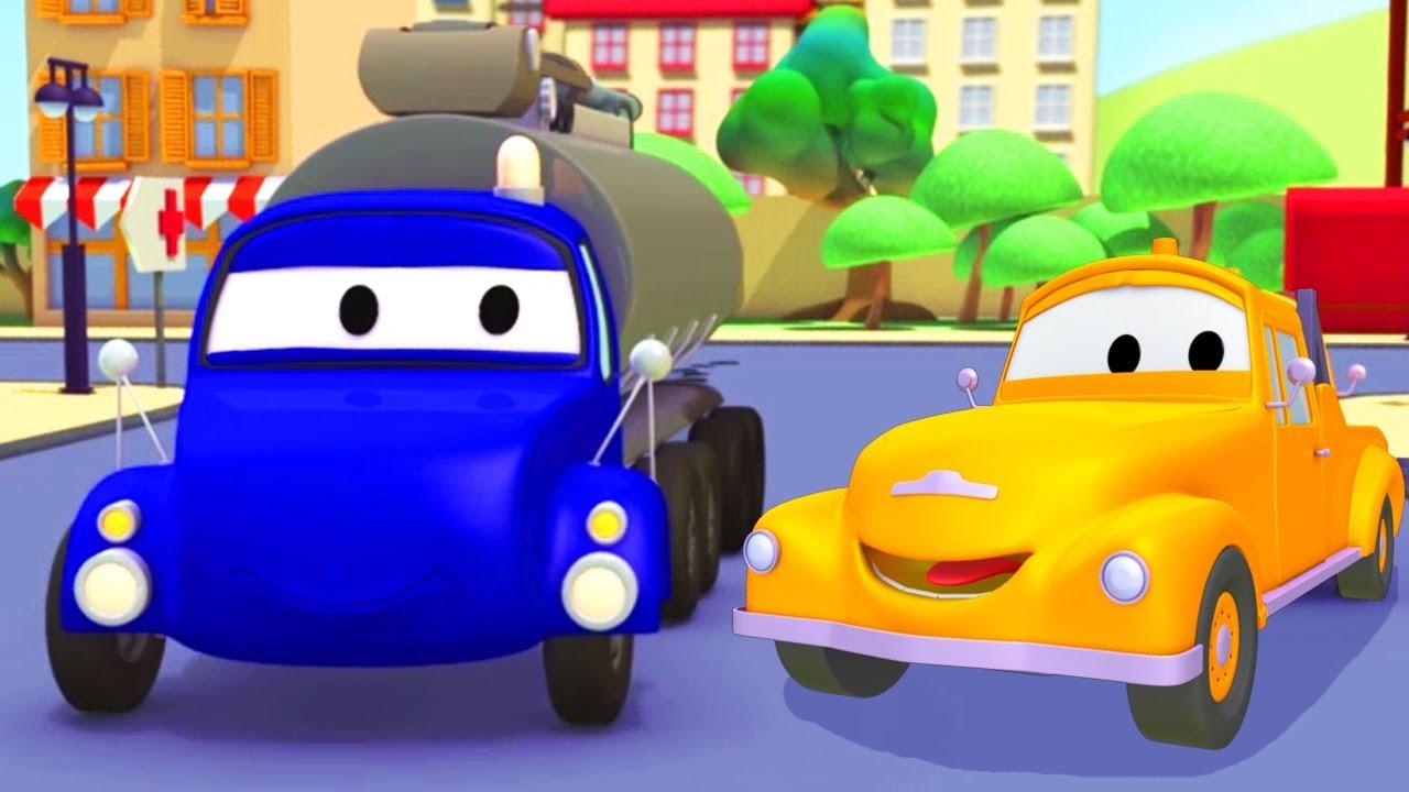 Tom camionul de tractari -  Cisterna - Orasul Masinilor ? Desene pentru copii