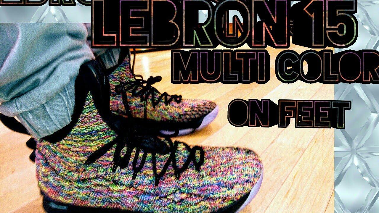 29463b8b2dab LeBron 15 Multi Color  Aka 4 Horsemen Coogie Sweater on feet  Review ...