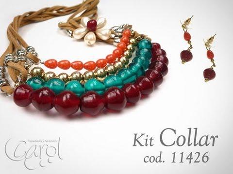 Como hacer collares con cuero plano y piedras de vidrio kit 11426 youtube - Collares de cuero ...
