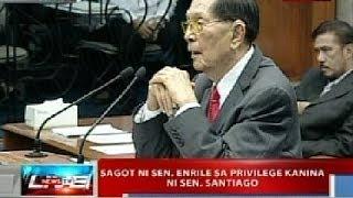 NTL : Sagot ni Sen. Enrile sa privilege speech kanina ni Sen. Santiago